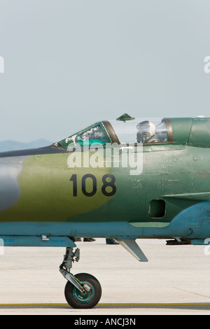 Croatian Air Force MiG-21 BISD '108' fighter on apron - Stock Image