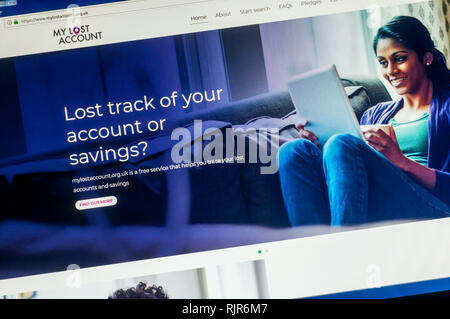 Home page of the website of My Lost Account, a free service to help trace lost bank accounts and savings. - Stock Image