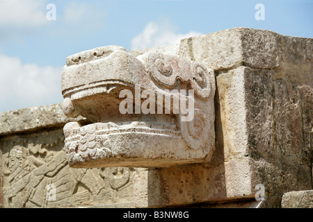 Detail of Serpent Head Carving on the Platform of the Eagles and Jaguars, Chichen Itza, Yucatan Peninsular, Mexico. - Stock Image