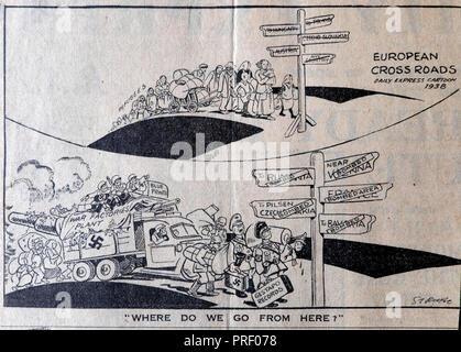 Daily Express cartoon 1938 'European Crossroads' queue of refugees and Nazi military war machine London UK - Stock Image