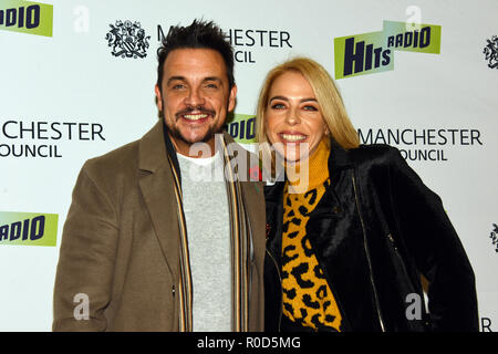 Manchester, UK. 3rd November, 2018. Manchester Lights Switch on. from HITS Radio Mike Toolan and Kelly Pegg Credit: Della Batchelor/Alamy Live News - Stock Image