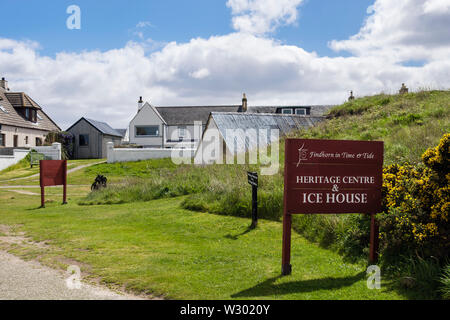 Heritage Centre and Ice House sign in village of Findhorn, Moray, Scotland, UK, Britain - Stock Image
