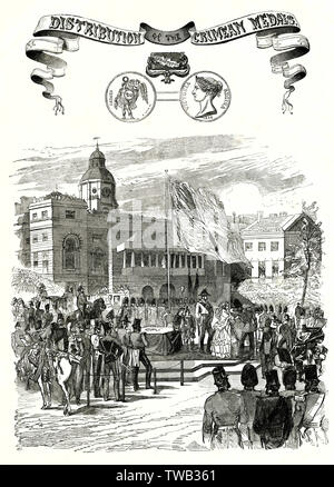 Queen Victoria and Prince Albert awarding medals to soldier who have served in the Crimean War.         Date: 1856 - Stock Image