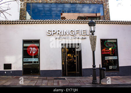 La Palma - Canary Islands - 21st January 2015: Springfield is a subsidiary of Grupo Cortefiel, one of the largest - Stock Image