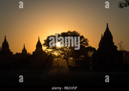 Sunset over the temples of Bagan, Myanmar - Stock Image