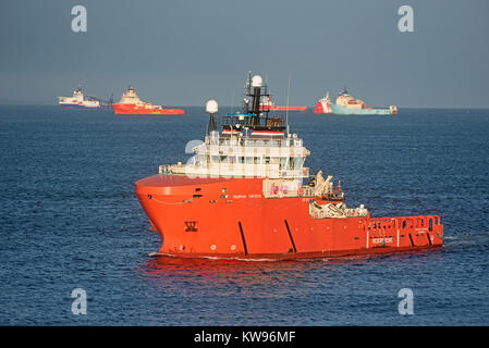 Grampian Fortress SAR Standby Safety vessel retuning from the North sea to its home port of Aberdeen. - Stock Image