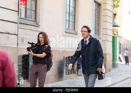 Stockholm, Sweden, September 6, 2018. Swedish Academy crisis. The Swedish Academy has its Thursday meeting after leave.  Tomas Riad, member of the Swedish Academy, arrives. No comments. - Stock Image