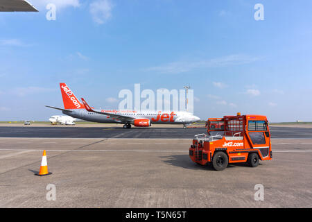 A Jet 2 Boeing 737 aircraft taxis to the runway at East Midlands Airport in Leicestershire, UK. 15 April 2019. - Stock Image