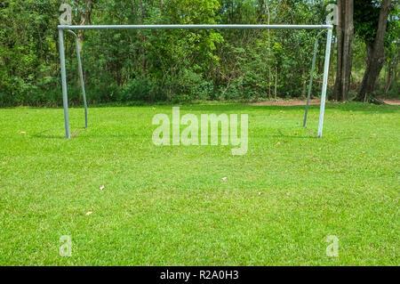 Empty soccer goal - Stock Image