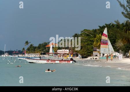 Jamaica Negril beach glass bottom boat - Stock Image