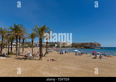 Xabia Spain Playa del Arenal beach with palm trees in summer people, also known as Javea - Stock Image