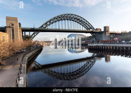 Newcastle Tyne Bridge reflected in the river, north east England, UK - Stock Image