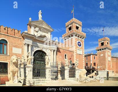 Entrance 'Porta Magna' of Arsenale, Castello, Venice, Italy. - Stock Image