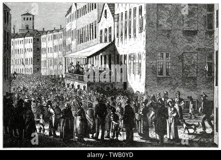 DENMARK Drawing the winning number at Vandkunsten, Copenhagen, Denmark.  circa 1840 - Stock Image