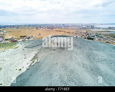 Eruption of large Keyraki Mud Volcano on Jun 12, 2017. Suburb of Baku, Azerbaijan. - Stock Image