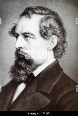 Charles Dickens (1812-1870), portrait photograph, 19th Century - from a Carte de Visite - Stock Image