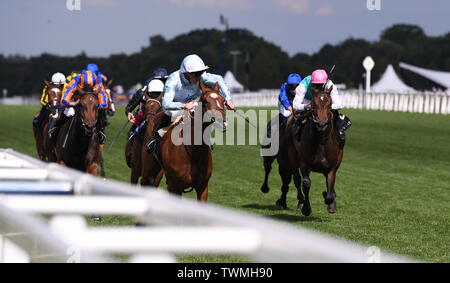 Ascot Racecourse, Windsor, UK. 21st June, 2019. Royal Ascot Horse racing; Race 4; Coronation Stakes; Jubiloso Ridden By James McDonald Trained By Sir Michael Stoute moves up on the outside to take the lead Credit: Action Plus Sports/Alamy Live News - Stock Image