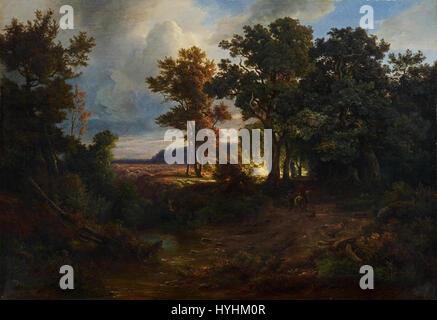 Christian Morgenstern   Landschaft mit Waldweg und Reiter (1849) - Stock Image