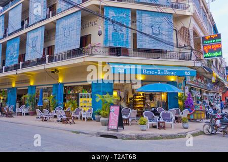 Brick-a-Brack, store and restaurant, old town, Battambang, Cambodia, Asia - Stock Image