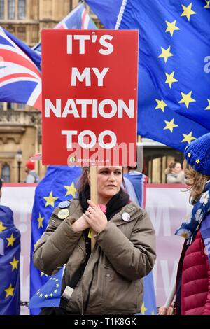 London, UK. 27th March, 2019. A remainer stages a protest. Anti Brexit demonstration in Westminster, Houses of Parliament, Westminster, London. UK Credit: michael melia/Alamy Live News - Stock Image