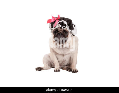 unhappy pug puppy dog with shower cap, sitting down, ready for taking a bath, isolated on white background - Stock Image