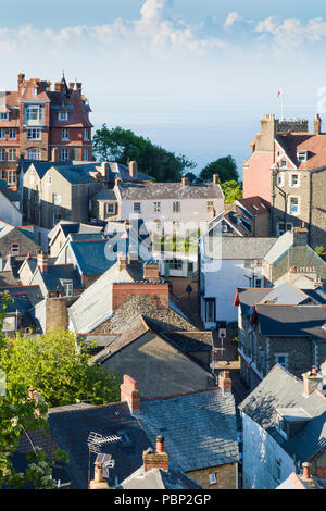 Rooftop view of the seaside town of Lynton on the coast of North Devon, UK. - Stock Image