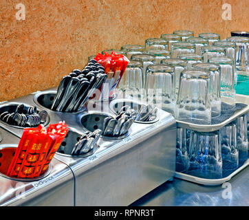 Arranged Glasses and Silverware - Stock Image