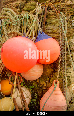 Fishing gear stored in the harbour at Hope Cove in Devon - Stock Image