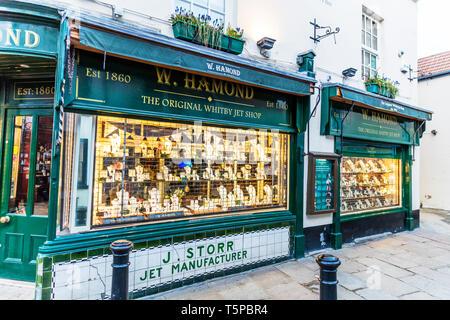 Whitby Jet shop, window shopping, window display, Whitby shops, Whitby jet, shop, shopping, shops, goths, window, jet, Whitby Yorkshire UK England - Stock Image