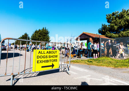 All about dogs show at Newark Showground Nottinghamshire UK, All about dogs show sign, people queuing, queue, long queue, dog show, dog shows, queues, - Stock Image