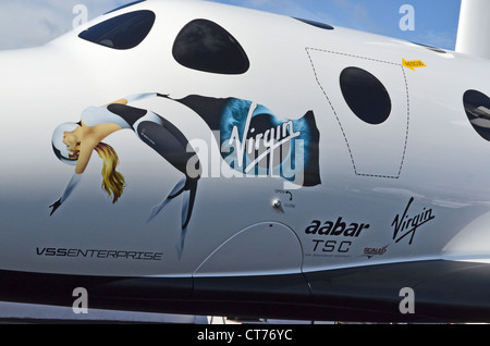 Virgin Galactic's SpaceShipTwo spaceplane at the Farnborough Air Show 2012 - Stock Image