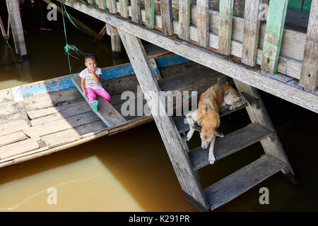 Young toddler on a boat and dog on staircase in flooded area of Belem, the poorest area of Iquitos, Peru. - Stock Image
