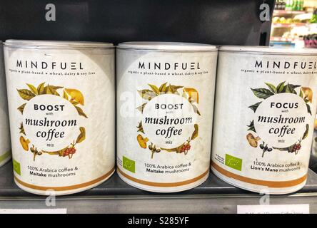 Mindfuel boost with mushroom coffee - Stock Image