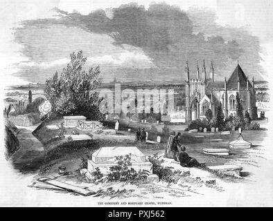 A suburban burial place - Nunhead Cemetery in south London (second view)      Date: 1846 - Stock Image