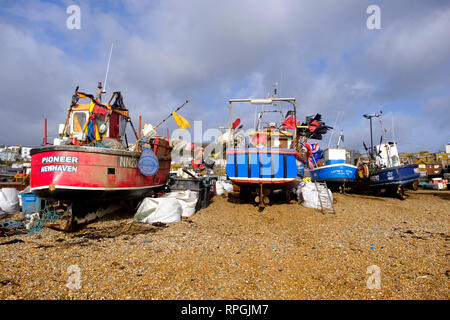Hastings fishing boats on the Old Town Stade beach, East Sussex, UK - Stock Image