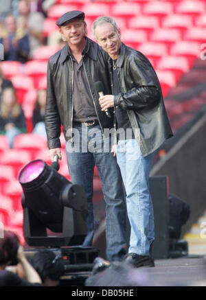 Living tennis legends German Boris Becker (L) and US John McEnroe (R) pictured during the Concert for Diana at the - Stock Image