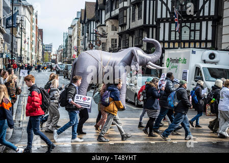 Protesters carry an inflatable elephant through streets of london at a stop trophy hunting and ivory trade protest rally, London, UK - Stock Image