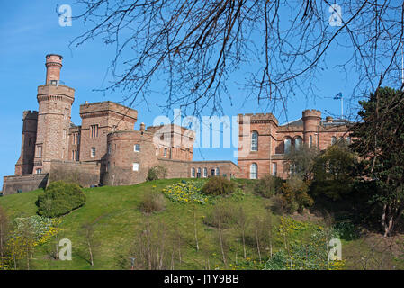 Inverness Castle above the River Ness in the Highland Capital City - Stock Image