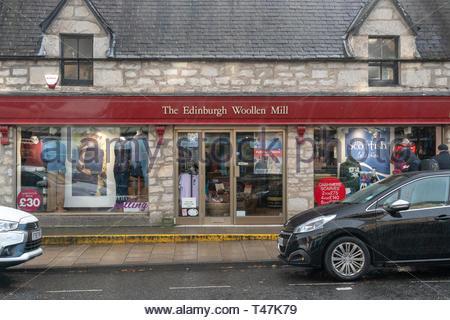 The Edinburgh Wollen Mill shop, in Pitlochry, Scotland - Stock Image
