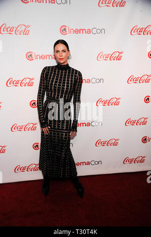 Las Vegas, USA. 04th Apr, 2019. Actress Charlize Theron arrives for the 2019 CinemaCon Big Screen Achievement Awards at Omia nightclub at Caesars Palace in Las Vegas on April 4, 2019. Credit: The Photo Access/Alamy Live News - Stock Image