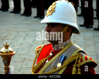 Guardsman parading at the Ceremony Of The Keys, Gibraltar, Europe, - Stock Image