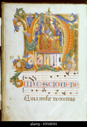 Cenni di Francesco di Ser Cenni   Initial N with Saint Peter Enthroned and the Liberation of Saint Peter   Google - Stock Image