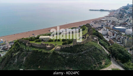 Aerial view of the ruins of Hastings castle, Southern England - Stock Image