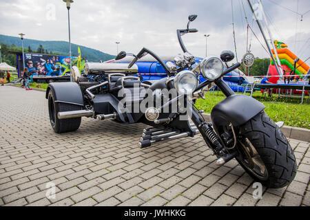 Bielsko-Biala, Poland. 12th Aug, 2017. International automotive trade fairs - MotoShow Bielsko-Biala. Three-wheel motorcycle with an alfa romeo boxer v16 engine. Credit: Lukasz Obermann/Alamy Live News - Stock Image