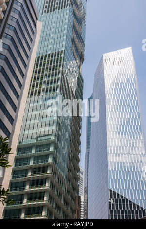 Skyscraper office buildings in Central Business District, Singapore - Stock Image