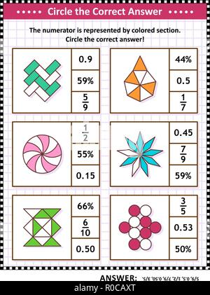Math skills training visual puzzle or worksheet. Circle the correct answer. Find the number equivalent for each pictorial fraction representation. Answer included. - Stock Image
