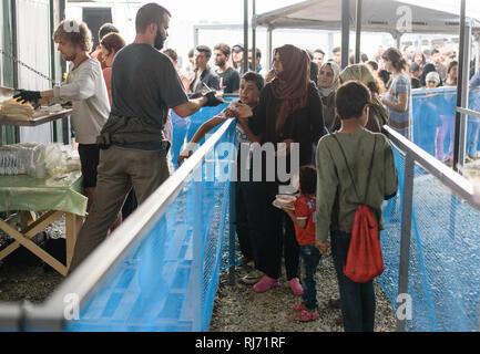 Flüchtlingscamp in Idomeni in Griechenland an der Grenze nach Mazedonien, April 2016. - Stock Image