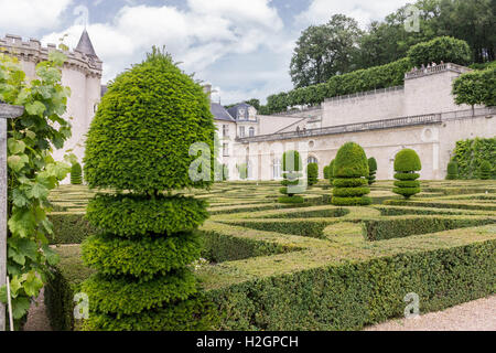 Villandry Castle Symmetric Gardens Loyre Valley France - Stock Image
