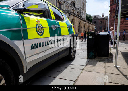 British ambulance first responder parked in the centre center of York, UK. - Stock Image