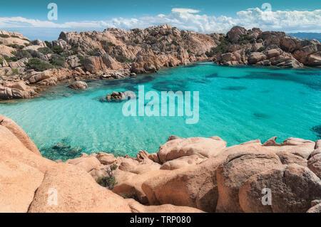 Archipelago Maddalena, Caprera Island, Cala Coticcio beach. heaven on earth. Corner of paradise in the Mediterranean Sea on the archipelago of Maddale - Stock Image